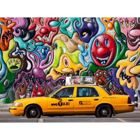 Taxi and mural Paiting in Soho, Setboun Michel - Quadro Pronto con Stampa Fine Art per Soggiorno, Ufficio o altro