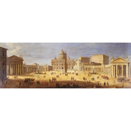 Gaspar Van Wittel,Piazza San Pietro,Roma.Riproduzione Artistica d'Autore Fine Art con Misure e Supporti a scelta