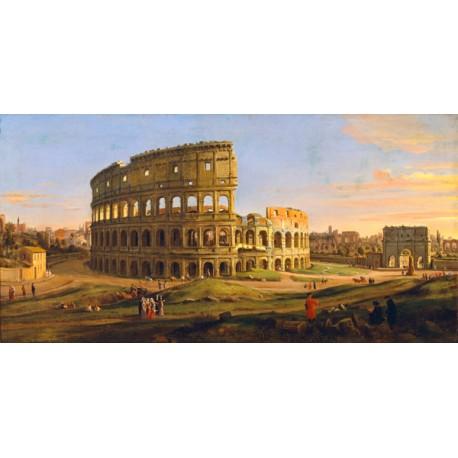 Gaspar Van Wittel,Veduta del Colosseo.Riproduzione Artistica d'Autore Fine Art con Misure e Supporti a scelta