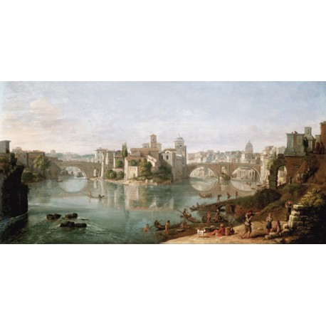 Gaspar Van Wittel,The Tiber in Rome. On Demand Picture for Home Decor Use